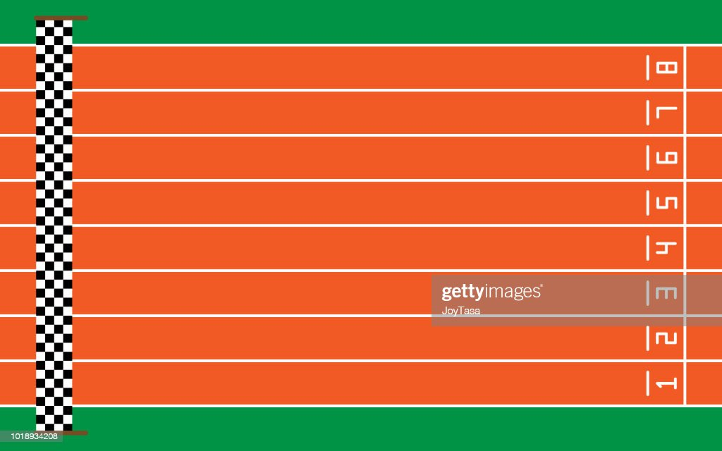 eight running tracks on green with goal,vector illustration