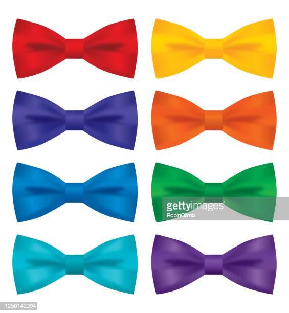 eight silk bowties - bow tie stock illustrations