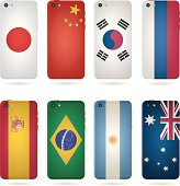 Eight smart phone cases styled after country flags
