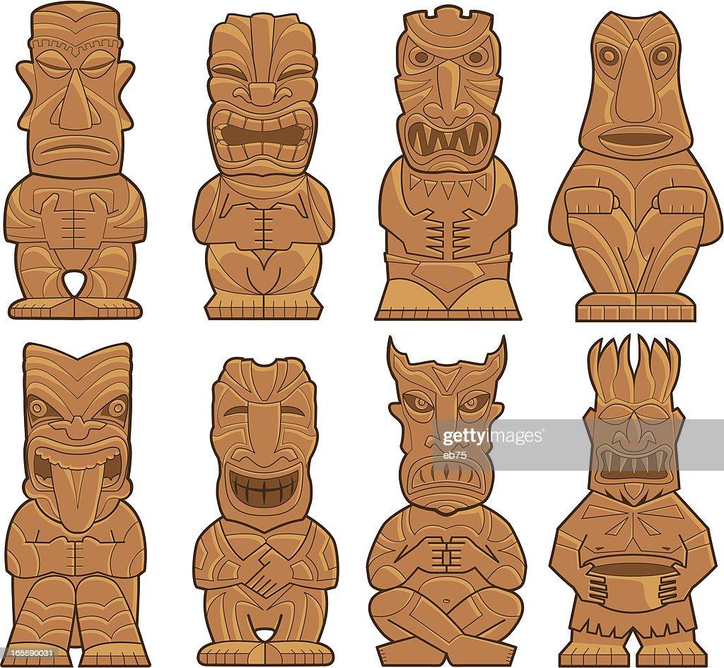 Eight Tiki Gods : stock illustration