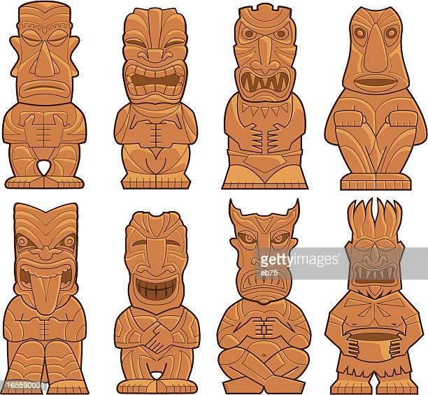 eight tiki gods - figurine stock illustrations, clip art, cartoons, & icons