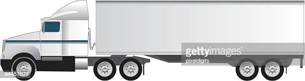 illustrations, cliparts, dessins animés et icônes de dix-huit wheeler un tracteur semi-remorque poids - chauffeur routier