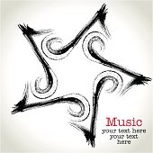 Eighth Note and Five-pointed star. Music icon.