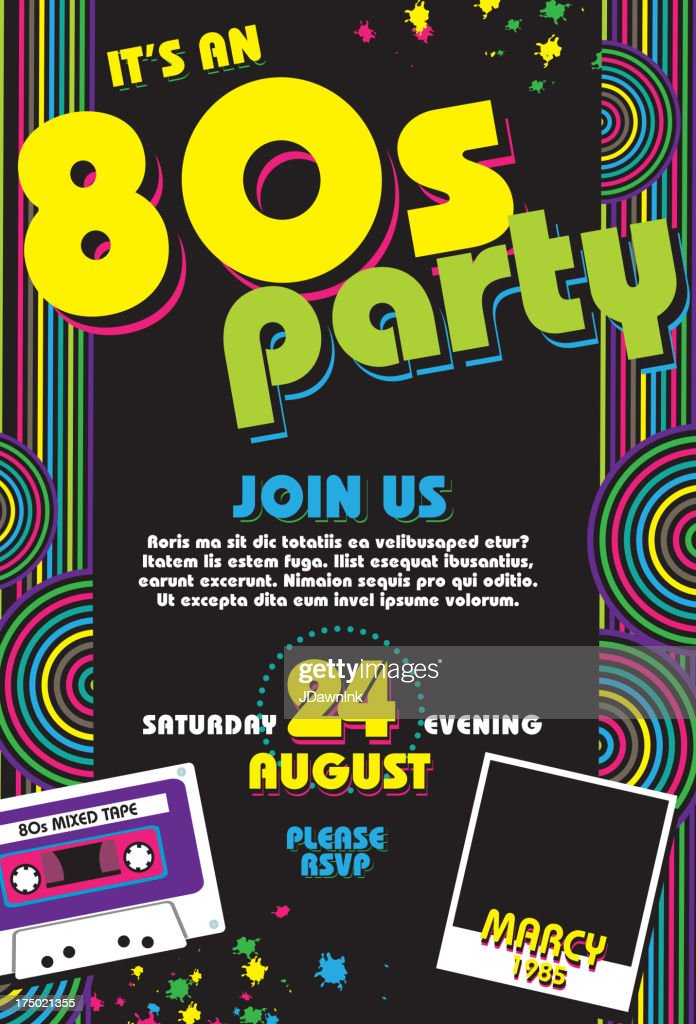 Eighties party themed 80s invitation design template with cassette : Stock Illustration