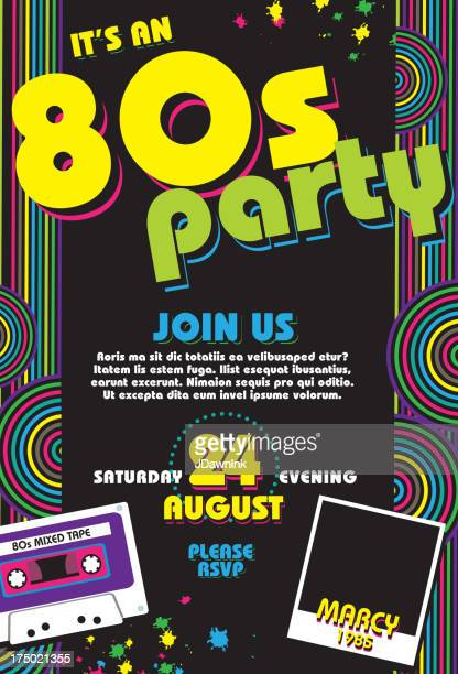 Eighties party themed 80s invitation design template with cassette