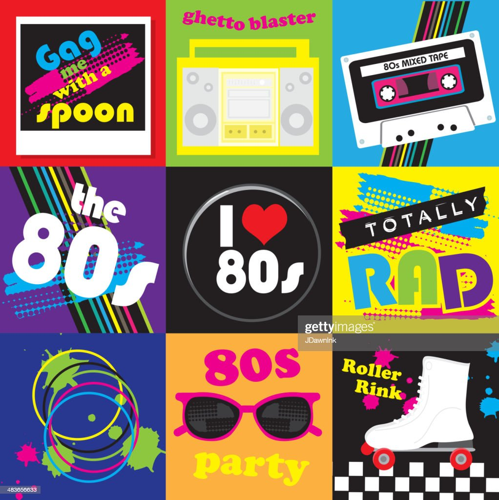 Eighties party themed icon set : stock vector