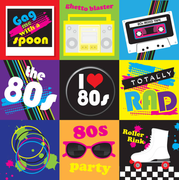 eighties party themed icon set - skateboarding stock illustrations