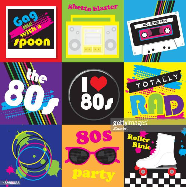 Eighties party themed icon set