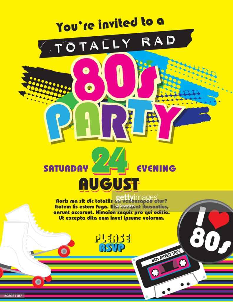 Eighties party themed invitation design template : stock vector