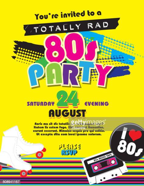 Eighties party themed invitation design template