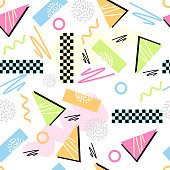 Eighties Seamless Pattern Vector