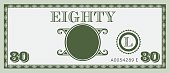 Eighty money bill image. With space to add your text