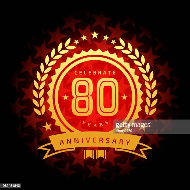 Eighty year anniversary icon with red color star shape background