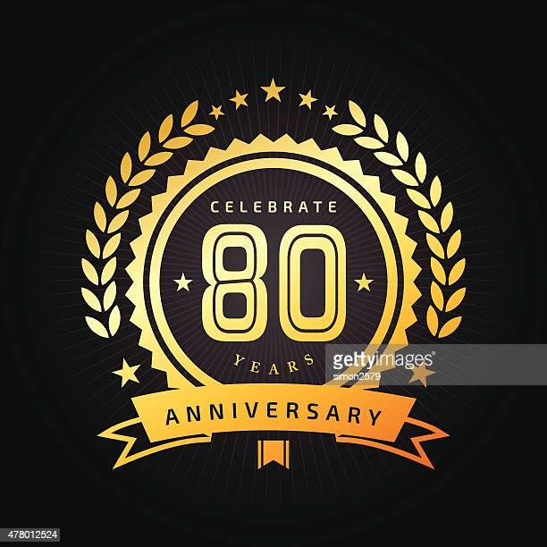 80 年周年記念エンブレム - 数字の80点のイラスト素材/クリップアート素材/マンガ素材/アイコン素材