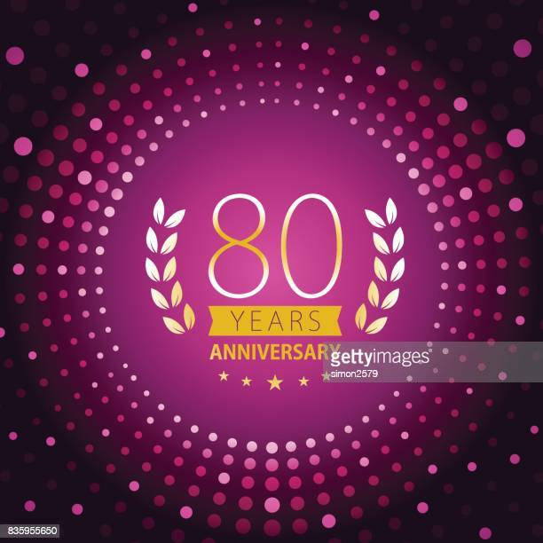 Eighty years anniversary icon with purple color background
