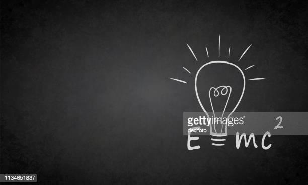 einstein formula e=mc2 on a grungy blackboard - mathematical formula stock illustrations