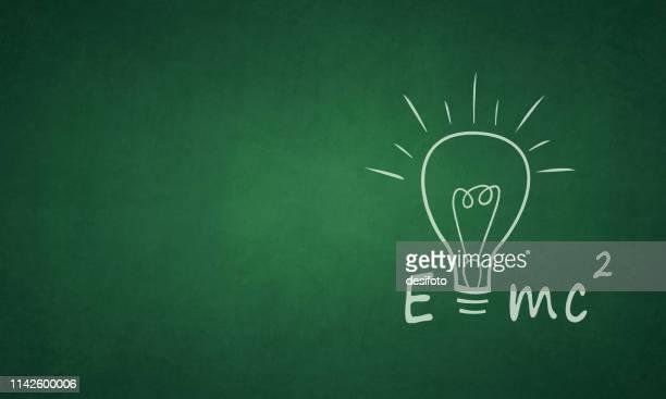 einstein formula e=mc2 on a grungy greenboard - mathematical formula stock illustrations