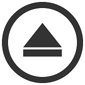 Eject icon in circle. Media player control button. Vector