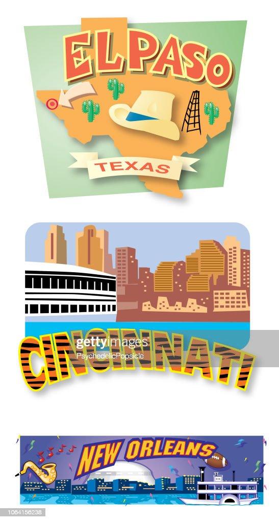 El Paso, Cincinnati, New Orleans Postcards