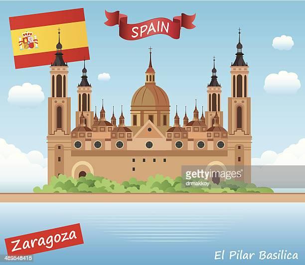 el pilar basilica, zaragoza - zaragoza province stock illustrations