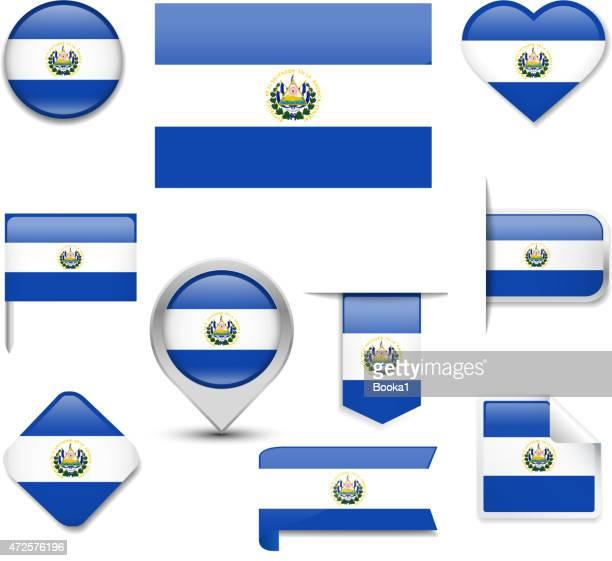 エルサルバドルフラグコレクション - エルサルバドル国旗点のイラスト素材/クリップアート素材/マンガ素材/アイコン素材