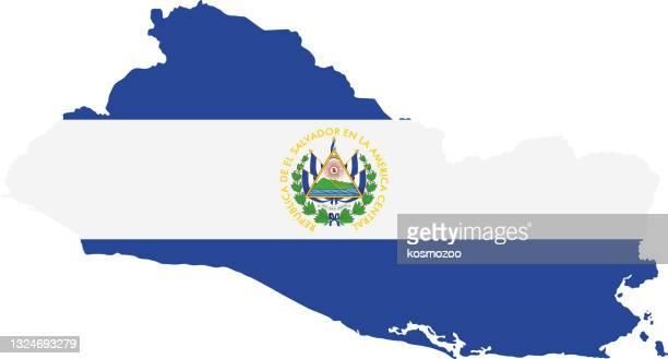 エルサルバドルの旗マップ - エルサルバドル国旗点のイラスト素材/クリップアート素材/マンガ素材/アイコン素材