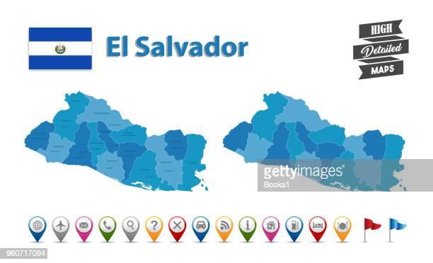 エルサルバドル - gps のアイコンをコレクションの高詳細地図 - エルサルバドル国旗点のイラスト素材/クリップアート素材/マンガ素材/アイコン素材