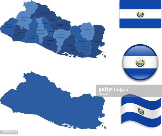 el salvador map and flag collection - el salvador stock illustrations