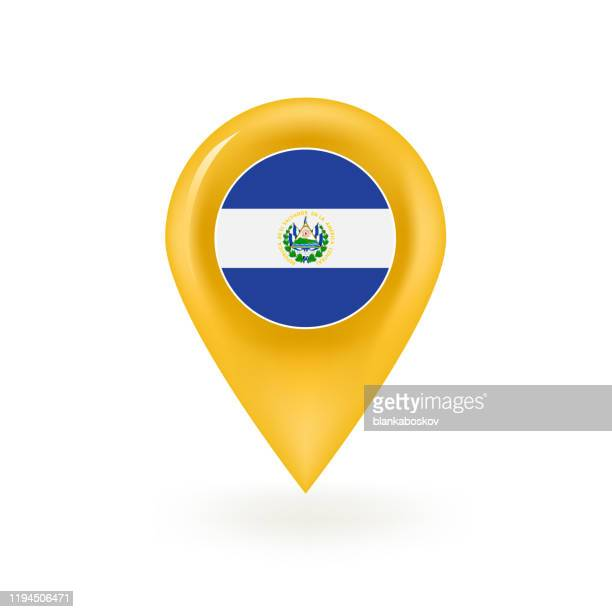 エルサルバドルマップピンアイコン - エルサルバドル国旗点のイラスト素材/クリップアート素材/マンガ素材/アイコン素材
