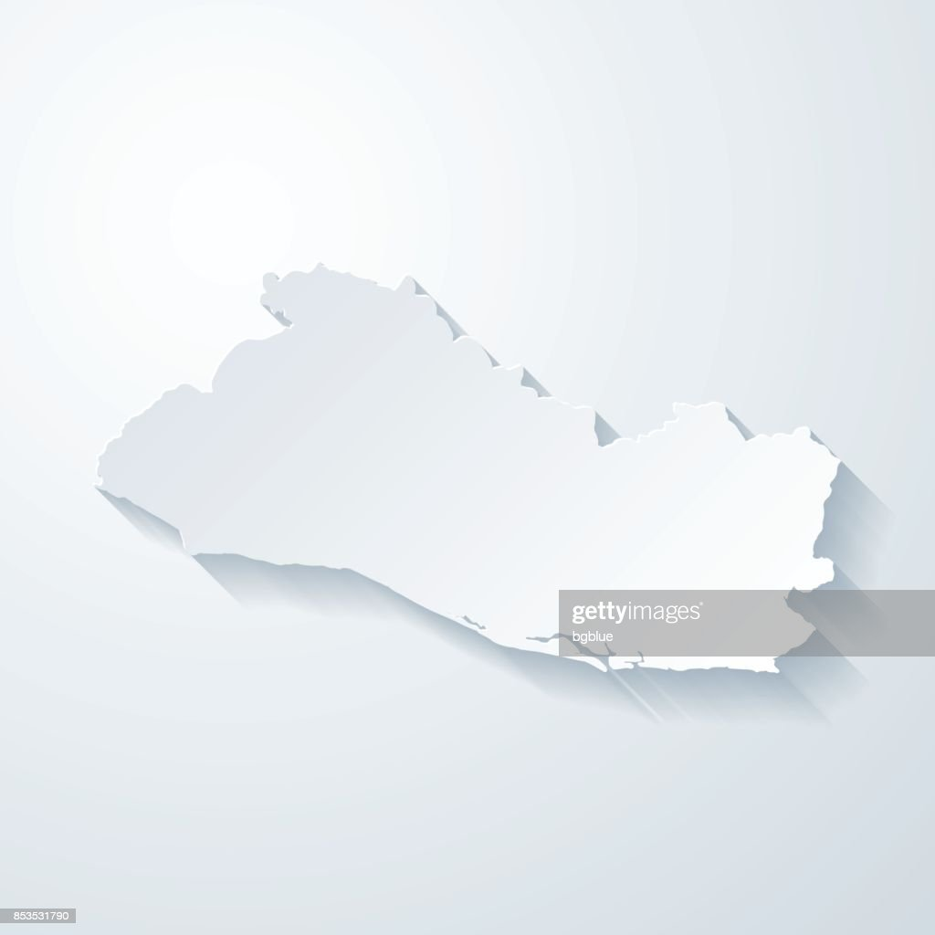 El Salvador Map With Paper Cut Effect On Blank Background Vector Art ...