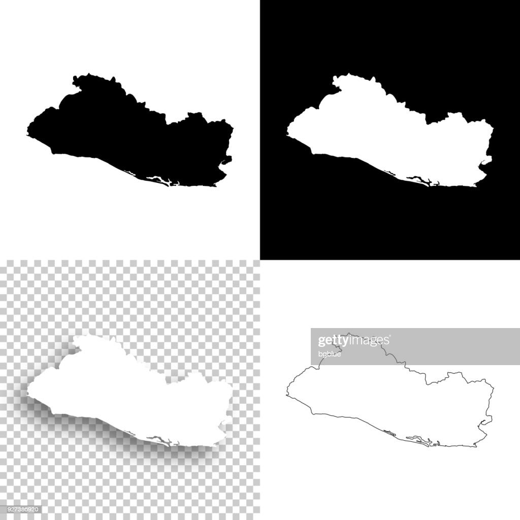 El Salvador Maps For Design Blank White And Black ...