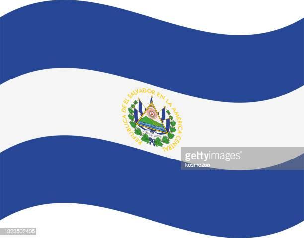 エルサルバドルの手を振る旗 - エルサルバドル国旗点のイラスト素材/クリップアート素材/マンガ素材/アイコン素材