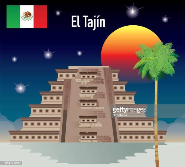 ilustrações de stock, clip art, desenhos animados e ícones de el tajin, papantla pyramid, pyramid of the niches - nicho