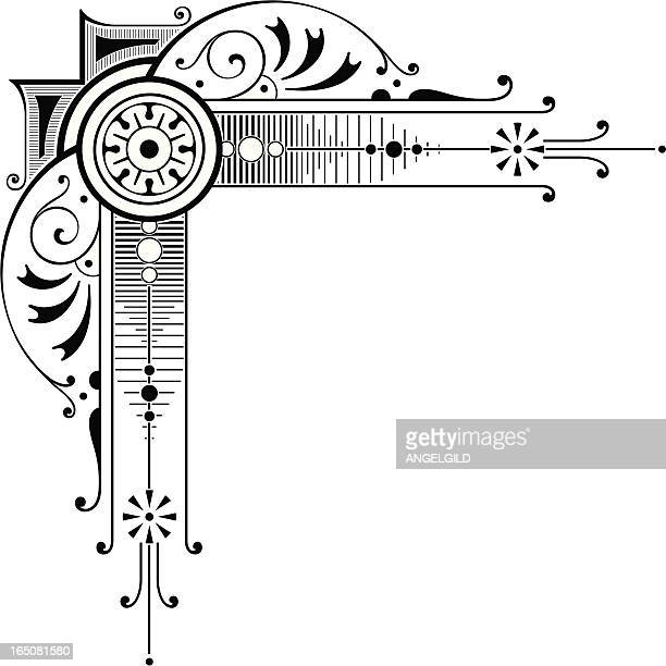 elaborate corner art - gothic style stock illustrations, clip art, cartoons, & icons