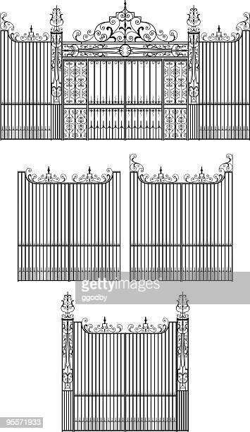 elaborate wrought iron gate set - metal industry stock illustrations