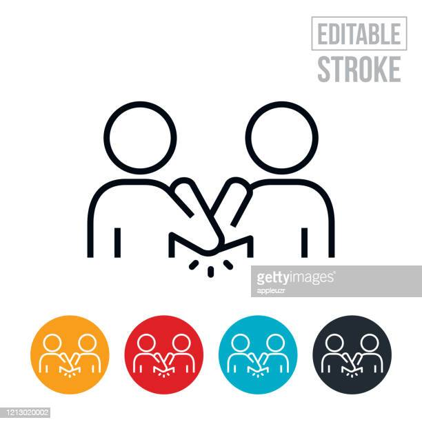 elbow bump thin line icon - editable stroke - greeting stock illustrations