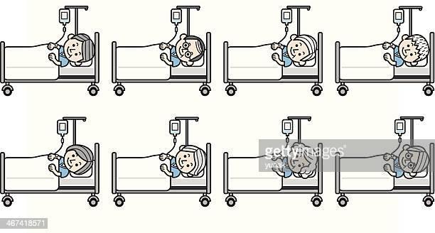 Velho pessoas na cama do hospital com um Gotejamento Intravenoso
