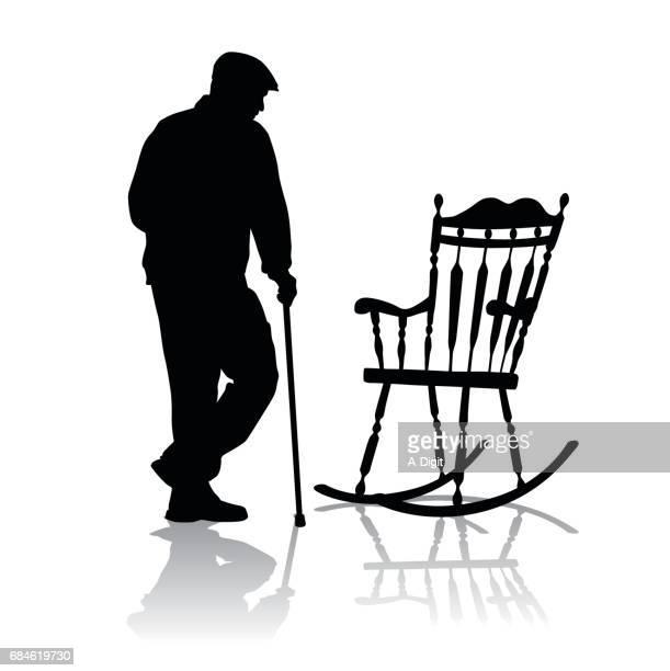 elder rest - rocking chair stock illustrations