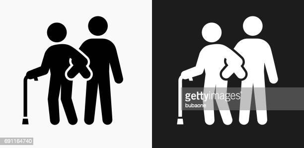 Elderly Assistance Icon on Black and White Vector Backgrounds
