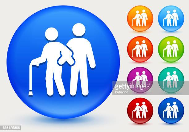 elderly assistance icon on shiny color circle buttons - walking cane stock illustrations