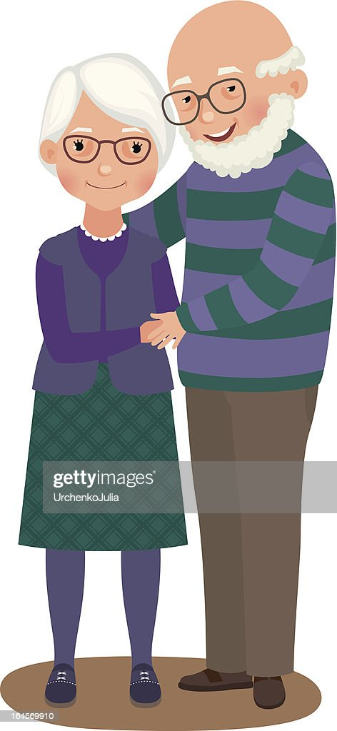 Elderly couple embrace in matching purple outfits