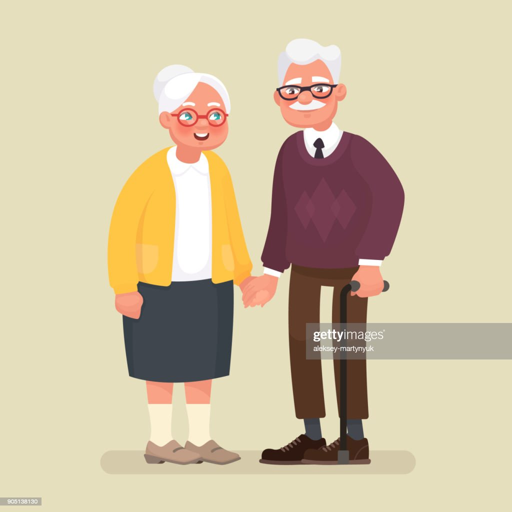 Elderly couple holding hands. Vector illustration in cartoon style