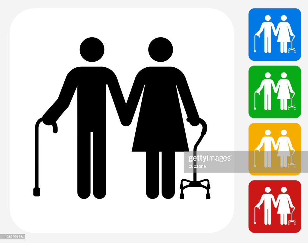 Elderly Couple Icon Flat Graphic Design