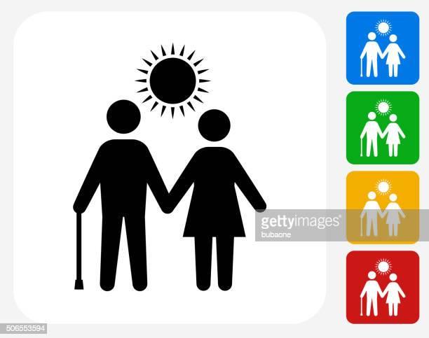 Elderly Couple Icon Flat Graphic Design
