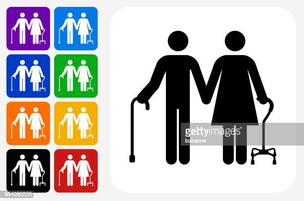 elderly couple icon square button set - walking cane stock illustrations