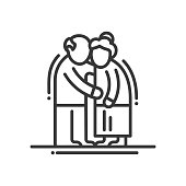 Elderly Couple - line design single isolated icon