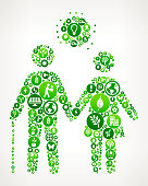 Elderly Couple Nature and Environmental Conservation Icon Pattern