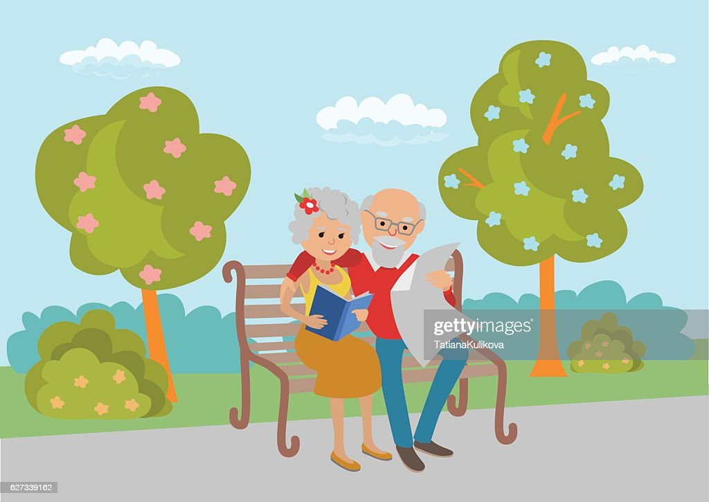 Elderly couple sitting on the park bench and read. Vector