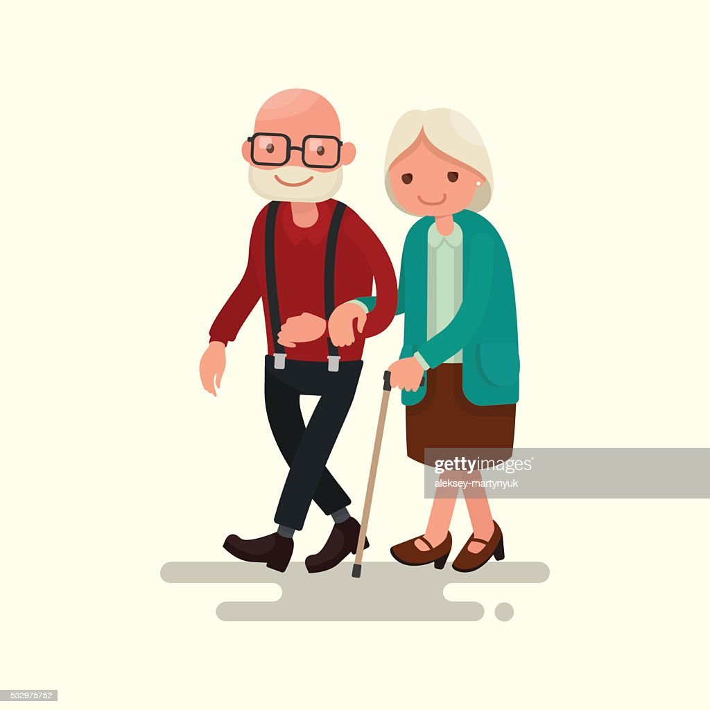 Elderly couple walking. Vector illustration