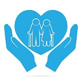Elderly couple with love symbol. old people couple with heart in hand blue icon